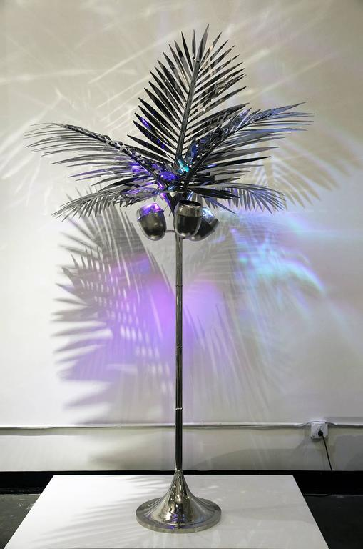 Contemporary California King Palm Tree Floor Lamp Nickel-Plated Brass by Christopher Kreiling For Sale