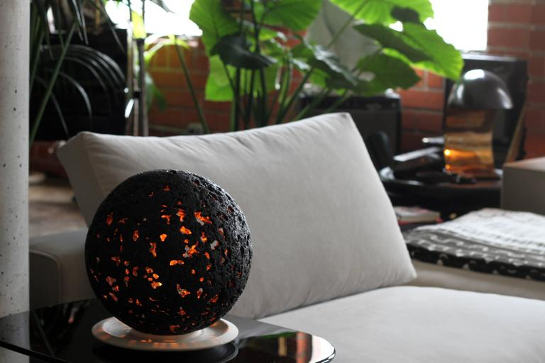 Hot Planet Table Lamp in Bronze by Christopher Kreiling For Sale 1