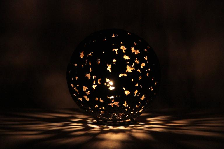 Contemporary Hot Planet Table Lamp in Bronze by Christopher Kreiling For Sale