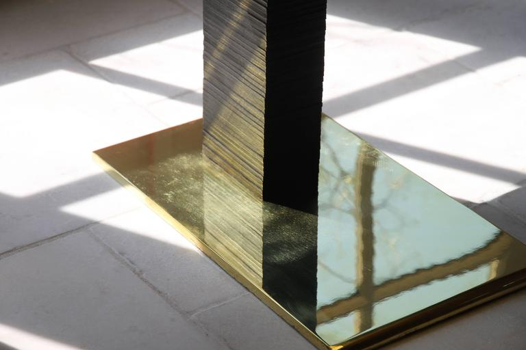 Polished Cantilever Infinity Side Table, Stacked Leather & Brass by Christopher Kreiling For Sale