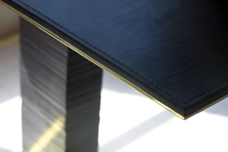 American Cantilever Infinity Side Table, Stacked Leather & Brass by Christopher Kreiling For Sale
