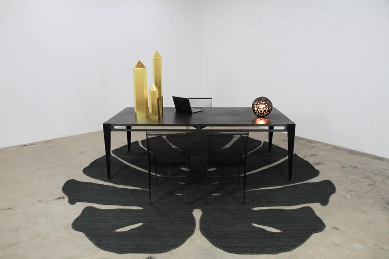 Industrial  ICON Table in patinated steel & leather, 2020 by Christopher Kreiling Studio For Sale