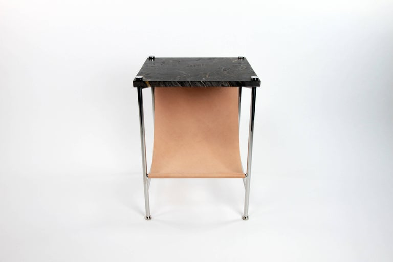 Leather Sling Side Table in Stainless Steel, Black Marble and Tan Leather For Sale 2
