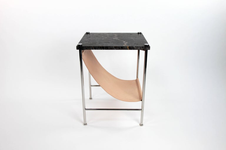 American Leather Sling Side Table in Stainless Steel, Black Marble and Tan Leather For Sale