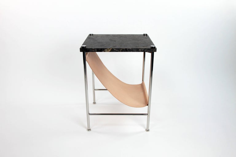 Leather Sling Side Table in Stainless Steel, Black Marble and Tan Leather For Sale 1