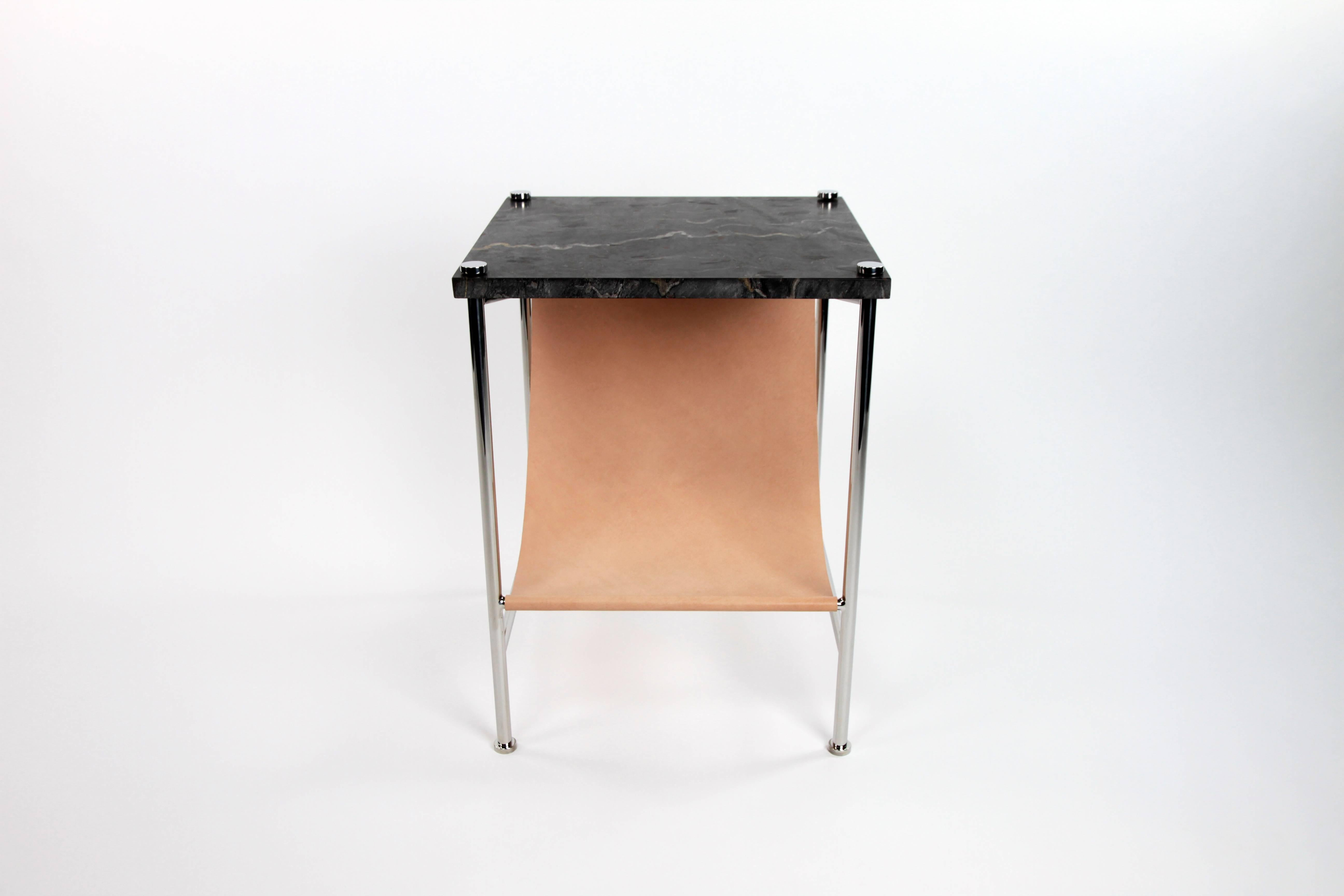 Leather Sling Side Table In Stainless Steel Black Marble And Tan Leather