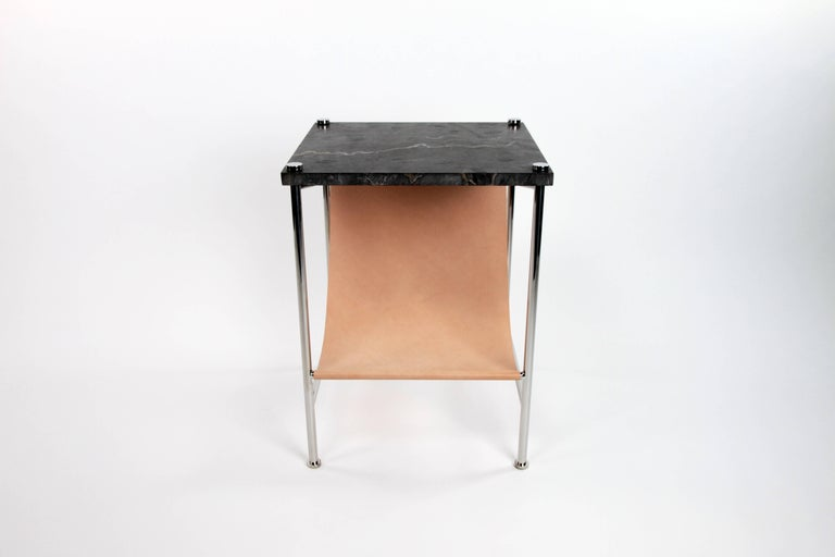 Polished Leather Sling Side Table in Stainless Steel, Black Marble and Tan Leather For Sale