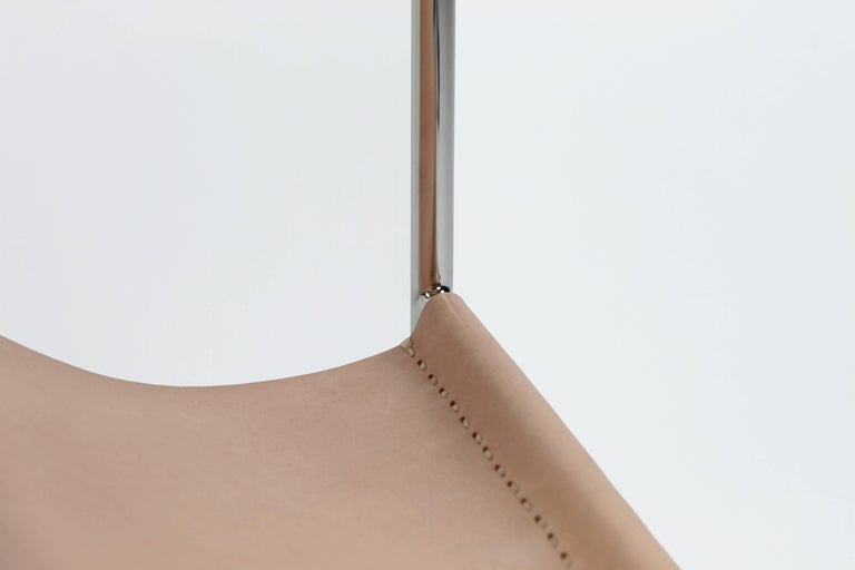 Contemporary Leather Sling Side Table in Stainless Steel, Black Marble and Tan Leather For Sale