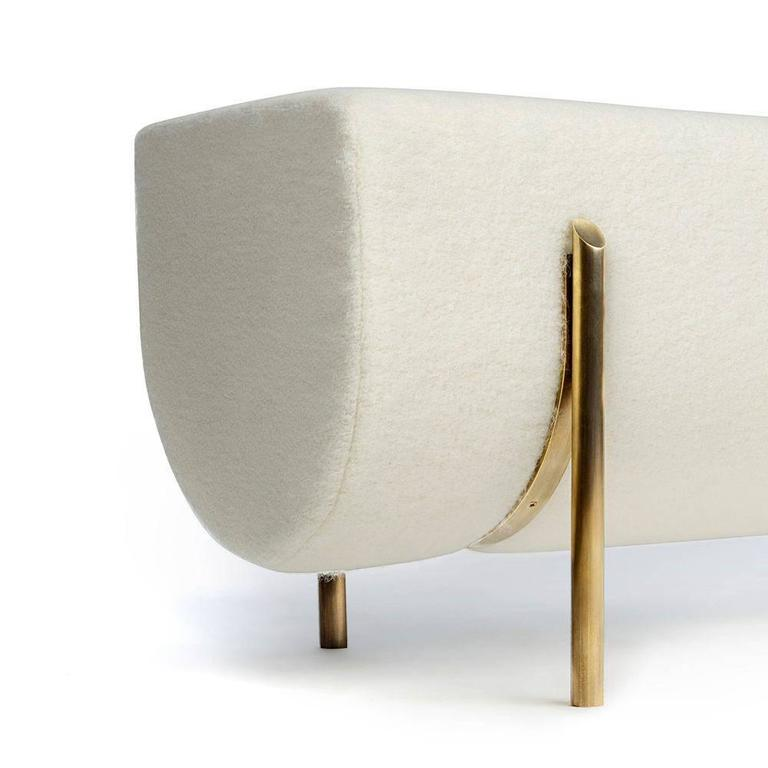 """Sempione bench  Measures: W 58"""" x D 18"""" x H 18"""" COM: 4 YDS COL: 72 SQFT (add 10%)  Standard finishes:  Oil rubbed bronze, un-lacquered brass or burnished brass Shown in un-lacquered brass."""
