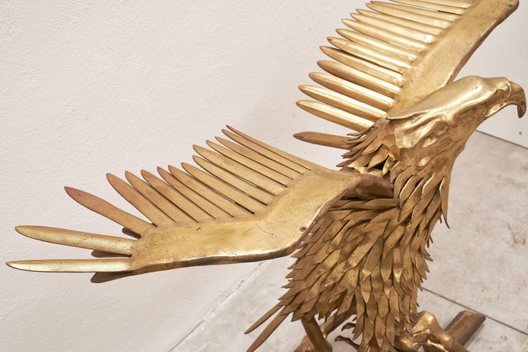 Eagle Brass Sculpture by Christian Techoueyres for Maison Jansen Console Table In Good Condition For Sale In Carimate, Como
