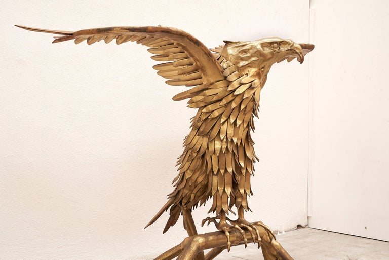 French Eagle Brass Sculpture by Christian Techoueyres for Maison Jansen Console Table For Sale