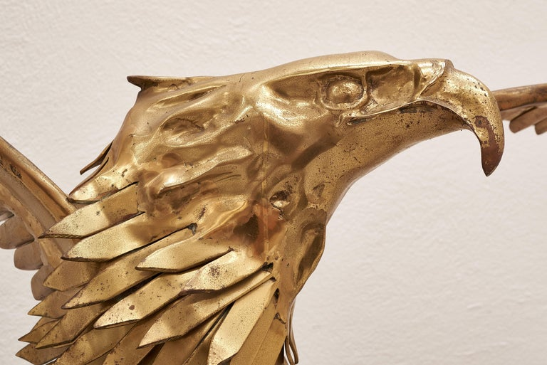 Magnificent eagle brass sculpture console table by Christian Techoueyres for Maison Jansen.  Designed in 1980s, this unique piece was presented at the world famous Milan, Italy design exhibition Salone del Mobile by Maison Jansen, a Paris-based