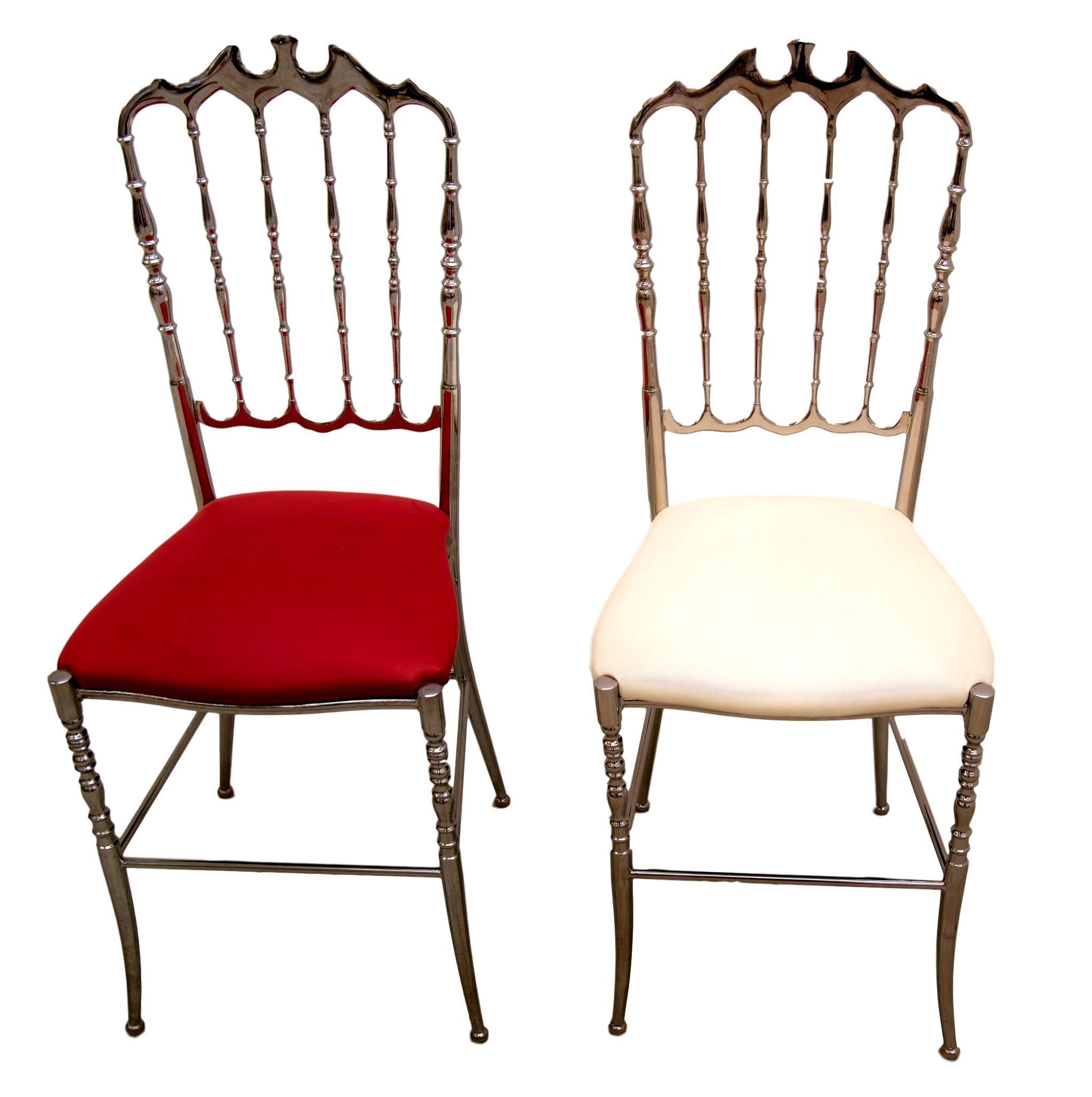 Pair of 1970s Italian Metal Silver Chiavari Chairs