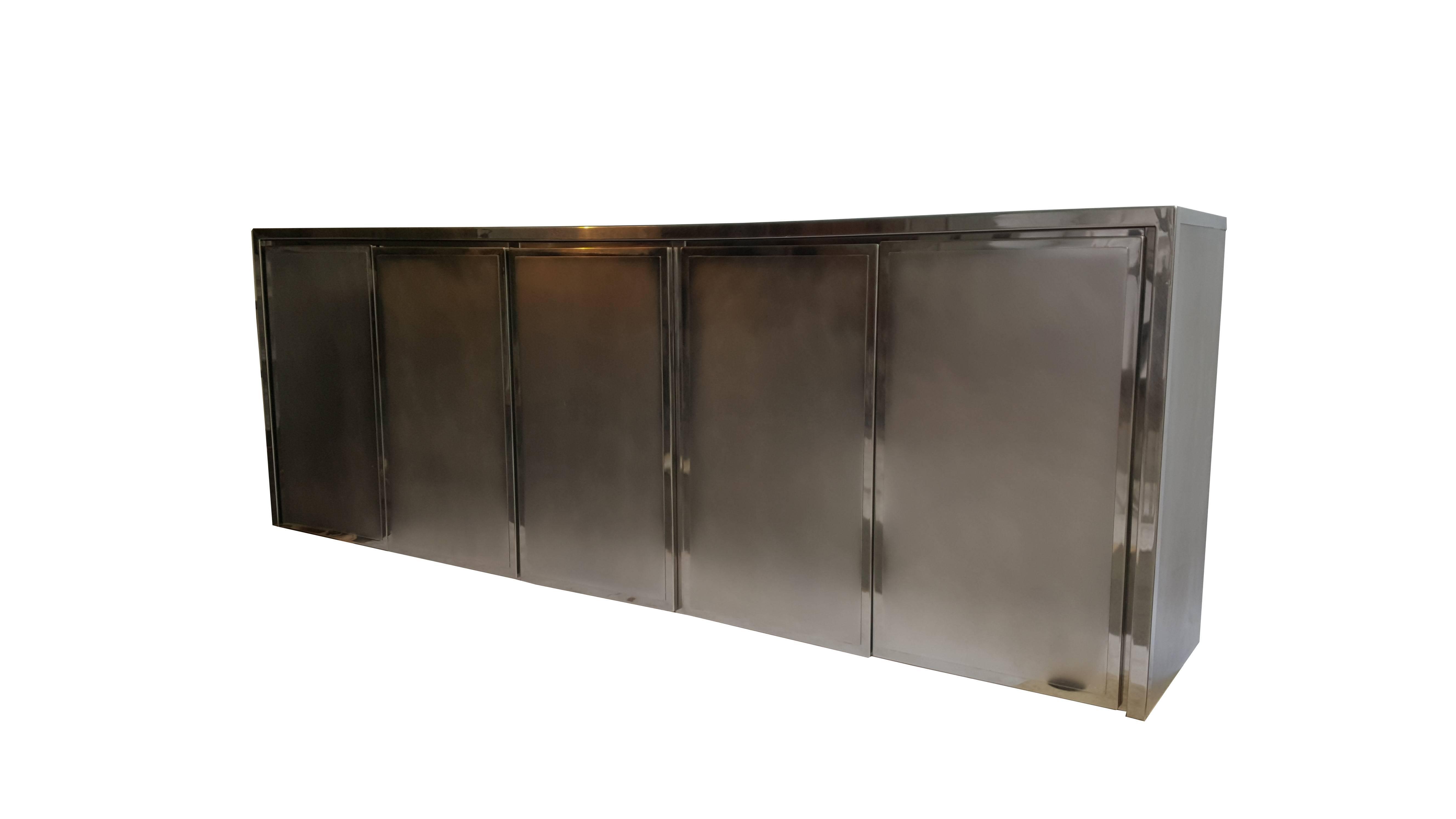 Credenza La Maison : Brushed chrome five door sideboard credenza by belgo for sale