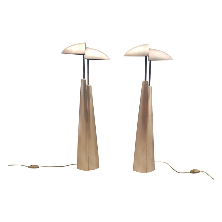 Amazing Pair of Bronze Table Lamps, Mid-Century Modern