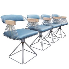 Reupholstered Rudi Verelst Pyramid, Set of Four Dinning Chairs