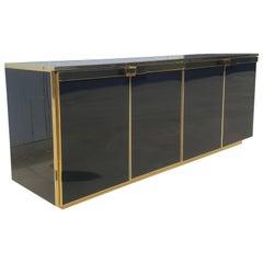 Maison Jansen Brass and Black Glass Five Doors Credenza