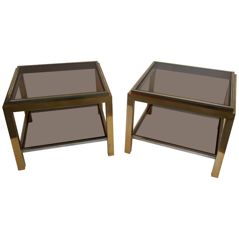 Brass and Smoked Glass Coffee Tables by Jean Charles, Set of Two