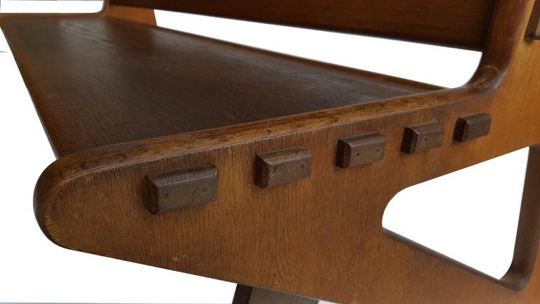 European Large Sculptural Wooden Bench For Sale