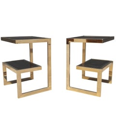 Gold 23-Karat G-Side Tables Maison Jansen, Mid-Century Modern