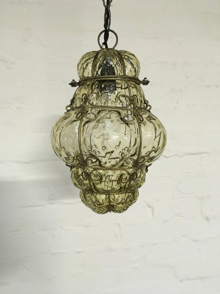 seguso murano caged glass pendant light italy 1940s for sale at