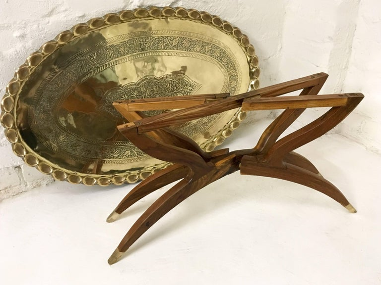 Large Oval Vintage Brass Tray Coffee Table On Mid Century