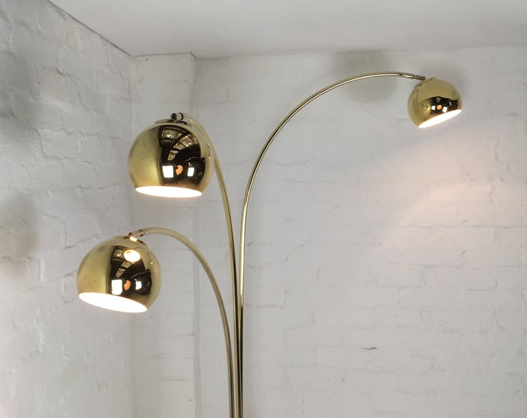 brass arc lamp triple midcentury modern three armed brass arc lamp with marble base italy circa 1960 for