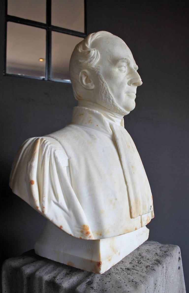 European Marble Head-Statue, 19th Century For Sale