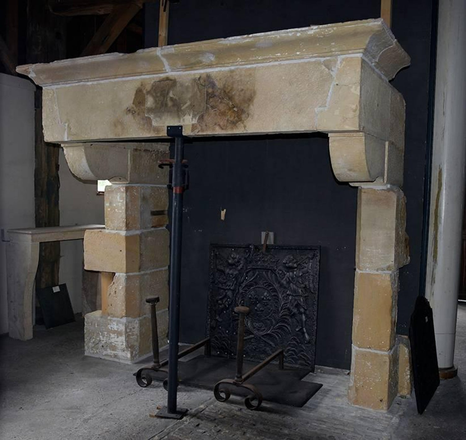 Original Antique Sandstone Castle Fireplace Mantel 18Th Century For Sale