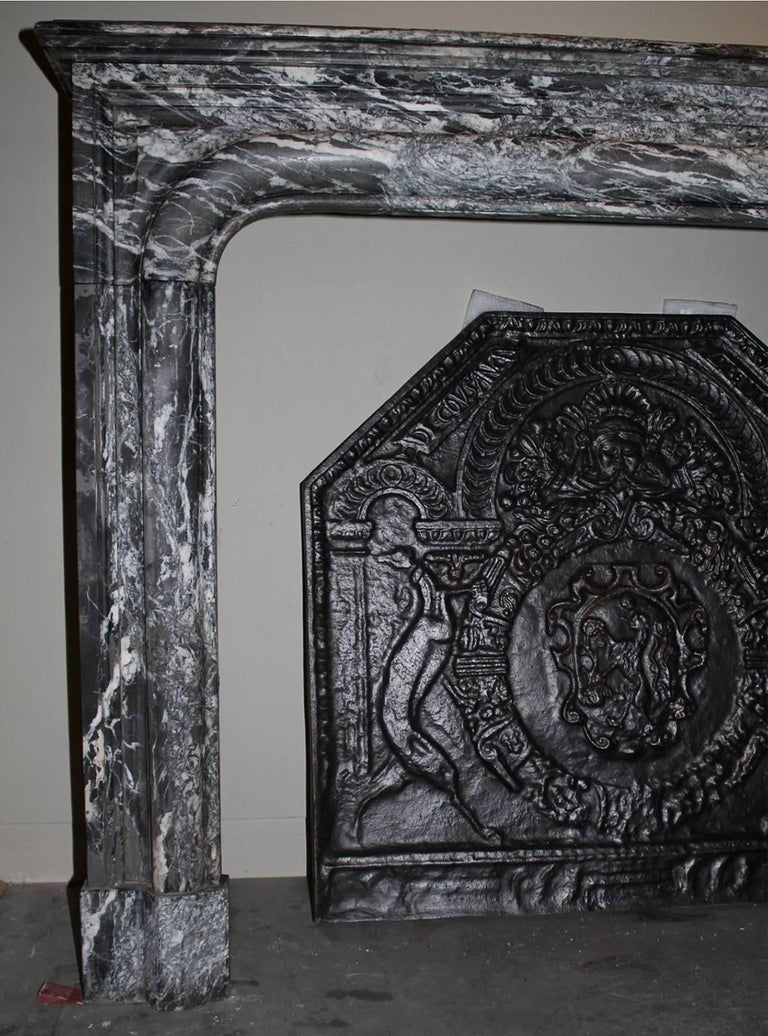 Antique Black Marble Fireplace Mantel From The 19th Century For Sale At 1stdibs