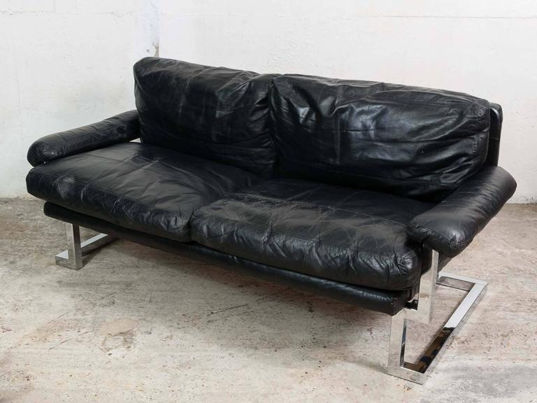 1970s Pieff Midcentury Mandarin Sofa In Chrome And Black Leather By Ted Bates At 1stdibs