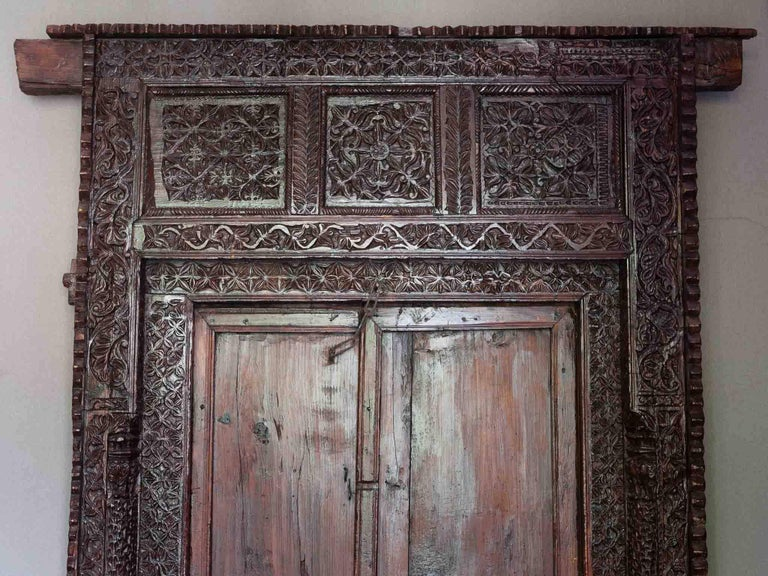 19th century antique indian ornately carved wood entrance for Wooden back door and frame