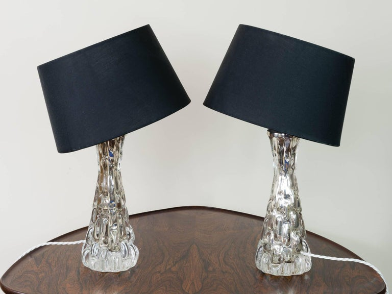 Swedish 1960s Pair of Small Carl Fagerlund Crocorelief Glass and Chrome Orrefors Lamps For Sale