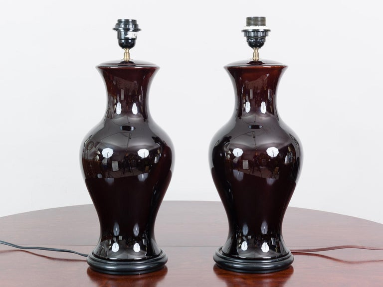 Other Pair of Belgium Brown Classic Glazed Ceramic Lamp Bases with Original Shades For Sale