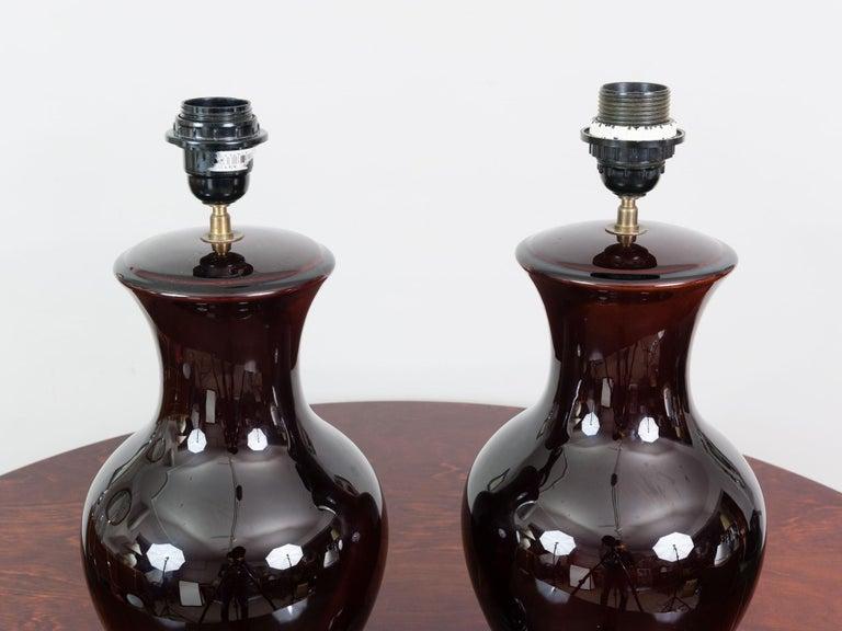 Belgian Pair of Belgium Brown Classic Glazed Ceramic Lamp Bases with Original Shades For Sale