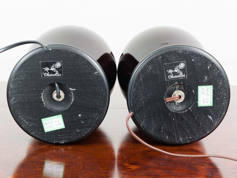 Pair of Belgium Brown Classic Glazed Ceramic Lamp Bases with Original Shades In Good Condition For Sale In London, GB