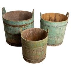 18th Century Northern Sweden Rustic Decorative Wooden Handled Barrels