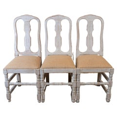Set of four  1940 Country Style Swedish High Backed White-Washed Folk Chairs