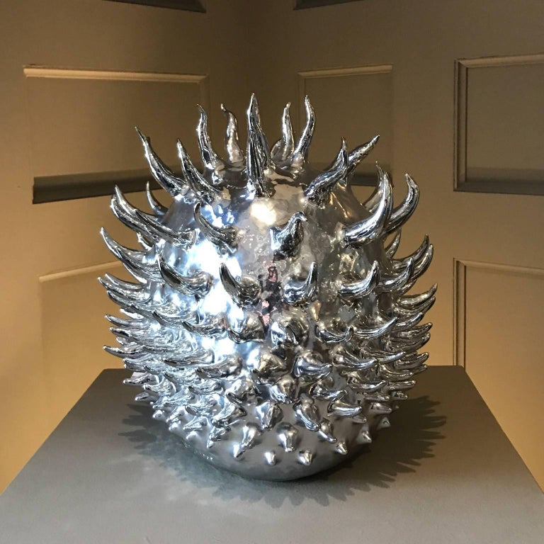 American Aquarian Star, Unique Silver Nitrate-Plated Ceramic Sculpture For Sale