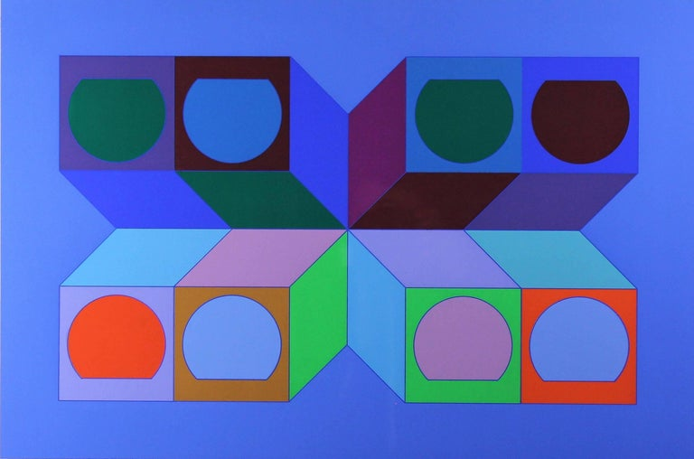 """Victor Vasarely """"Série Cube"""" Serigraphy in color Print signed by the artist and numbered 227/250 . circa 1974 Very good condition. Large margins. Framed."""