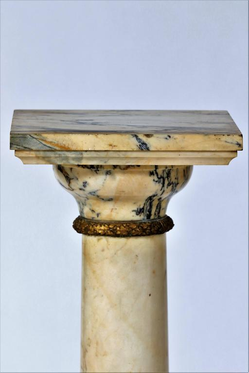 French 19th Century Column Pedestal in Carrara Marble For Sale