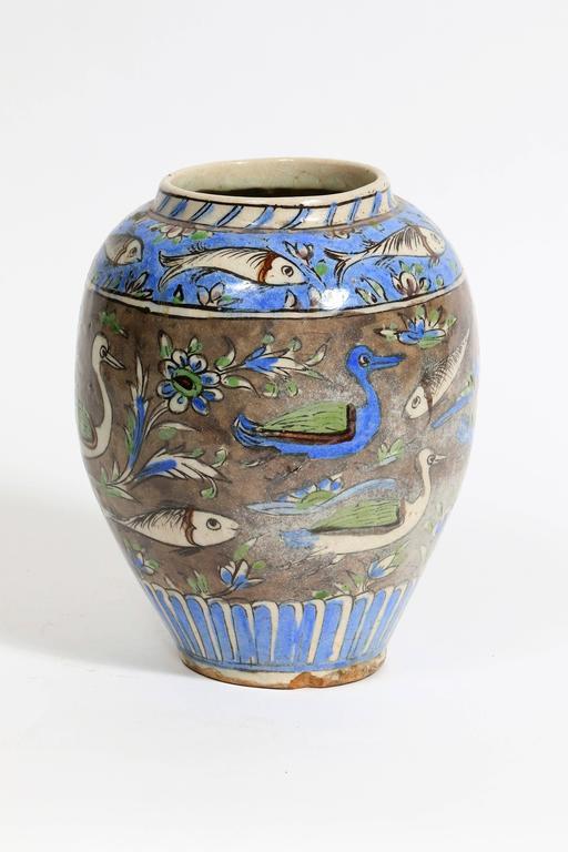 19th Century Iznik Vase With A Fish Decor At 1stdibs