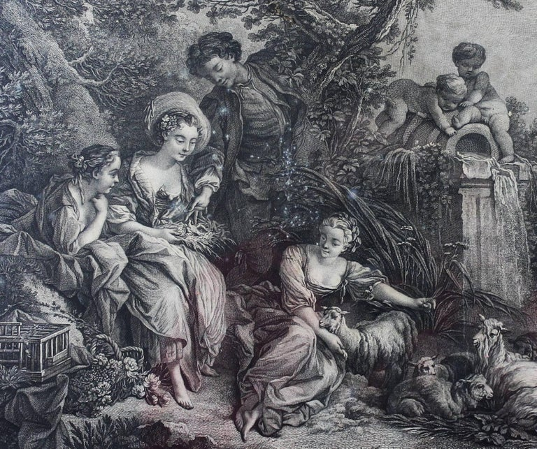 """""""The presents of the Shepherd"""", beautiful engraving after the painting of Francois Boucher painter of King Louis XV. Engraved by Louis-Simon Lempereur, dedicated to the Duchess of Villeroy, circa 1774 Dimension without frame: 19.4 /"""