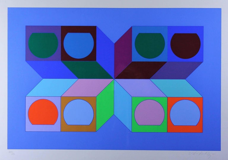 Modern Vasarely Victor, Serie Cube Serigraphy 1974, Signed and Numbered For Sale