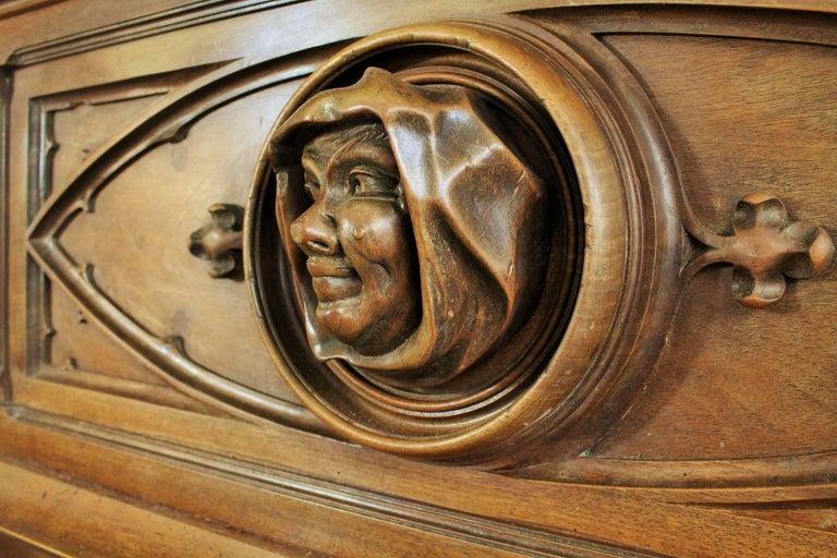 French Gothic Revival Fireplace with its Hood and Carved Salamander, Witch and Ermine For Sale