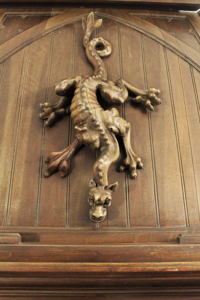 Hand-Carved Gothic Revival Fireplace with its Hood and Carved Salamander, Witch and Ermine For Sale