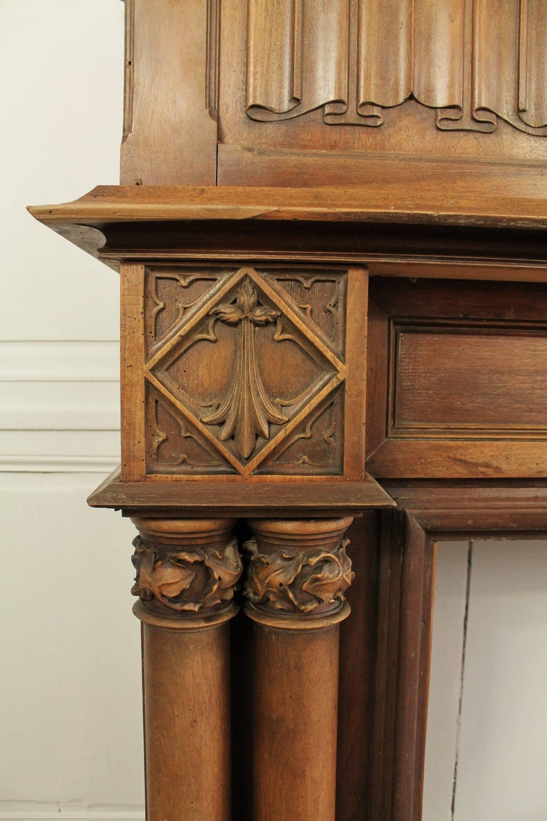 Oak Gothic Revival Fireplace with its Hood and Carved Salamander, Witch and Ermine For Sale