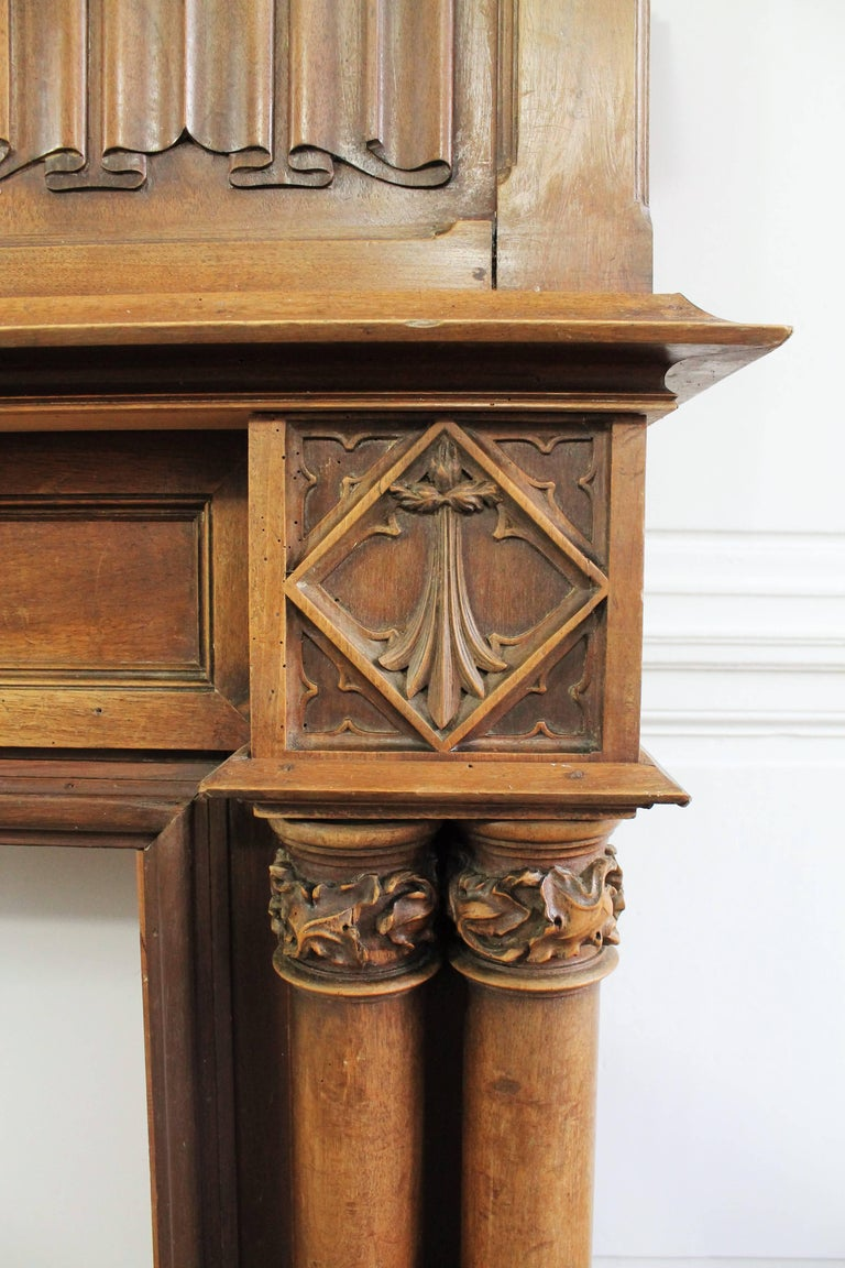 Gothic Revival Fireplace with its Hood and Carved Salamander, Witch and Ermine For Sale 1