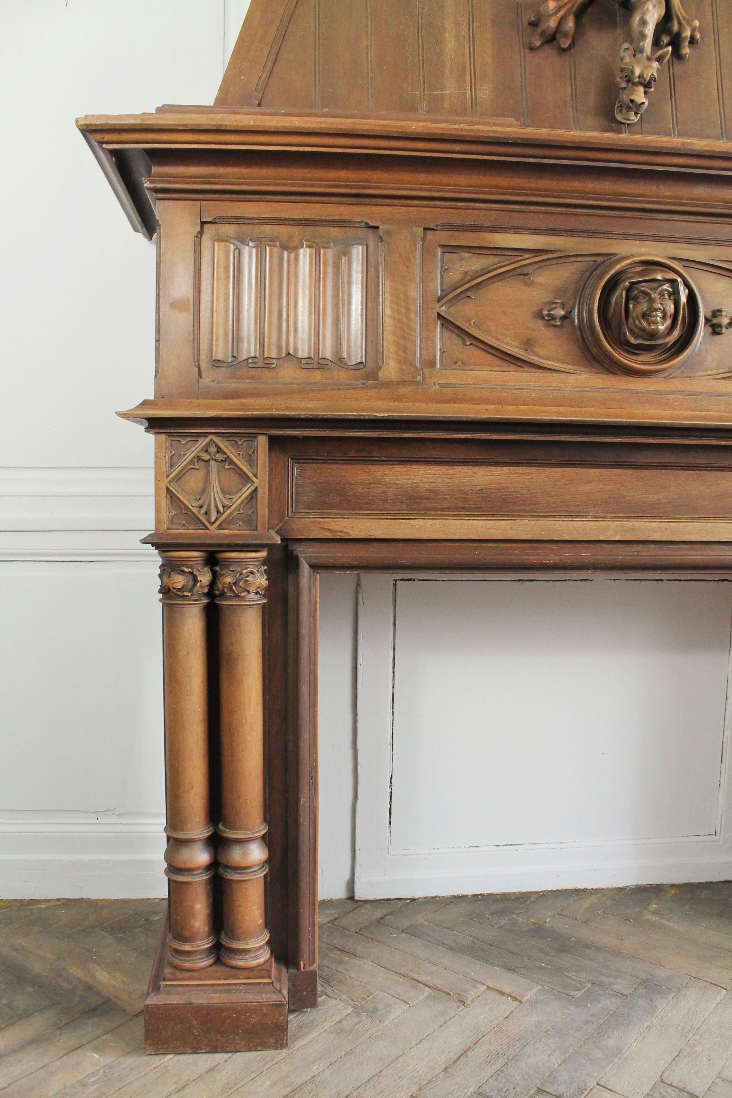 Gothic Revival Fireplace With Its Hood And Carved Salamander, Witch