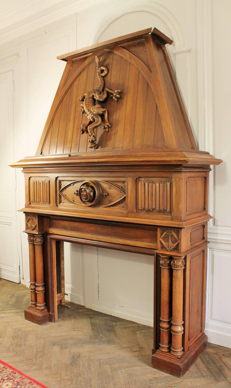 Gothic Revival Fireplace with its Hood and Carved Salamander, Witch and Ermine For Sale 3